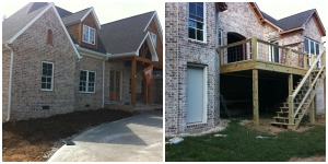New construction has many design options. I like to landscape the foundation first.